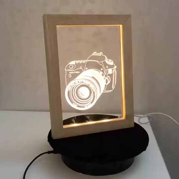 Etch lighting laser cut acrylic light wood photo frame night lamp 3d led optical illusion lamp