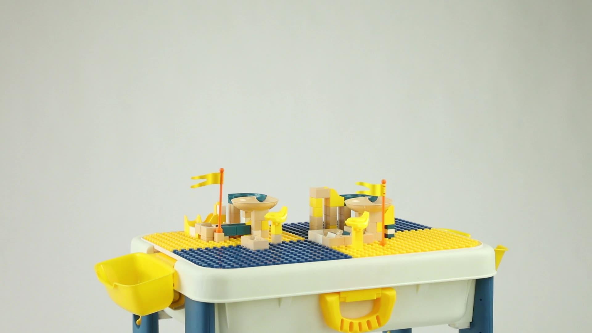 Bloque de construcción multifuncional ajustable, mesa de aprendizaje, escritorio de aprendizaje, juguete educativo Compatible con Legos con sillas