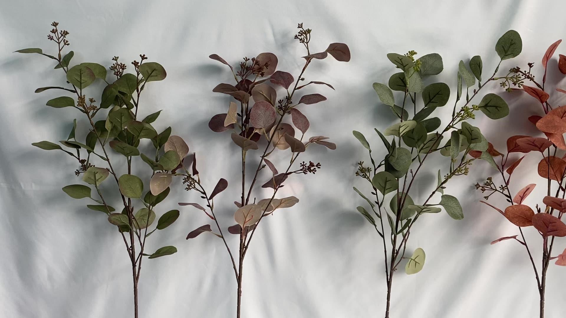 FC7004 artificial de alta calidad semillas hojas de eucalipto plantas decorativas