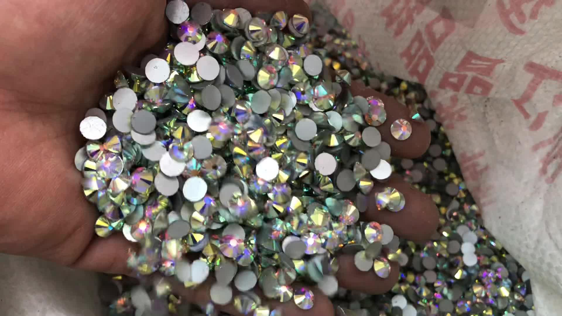SS 6 10 16 20 30 50 Glitter Pha Lê AB Strass Đính Vòng Flatback Pha Lê Thủy Tinh Thạch Cho Móng Tay Nghệ Thuật trang trí