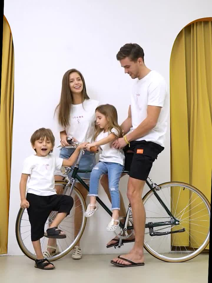 Summer family t shirt designs hot sale casual family matching t-shirt