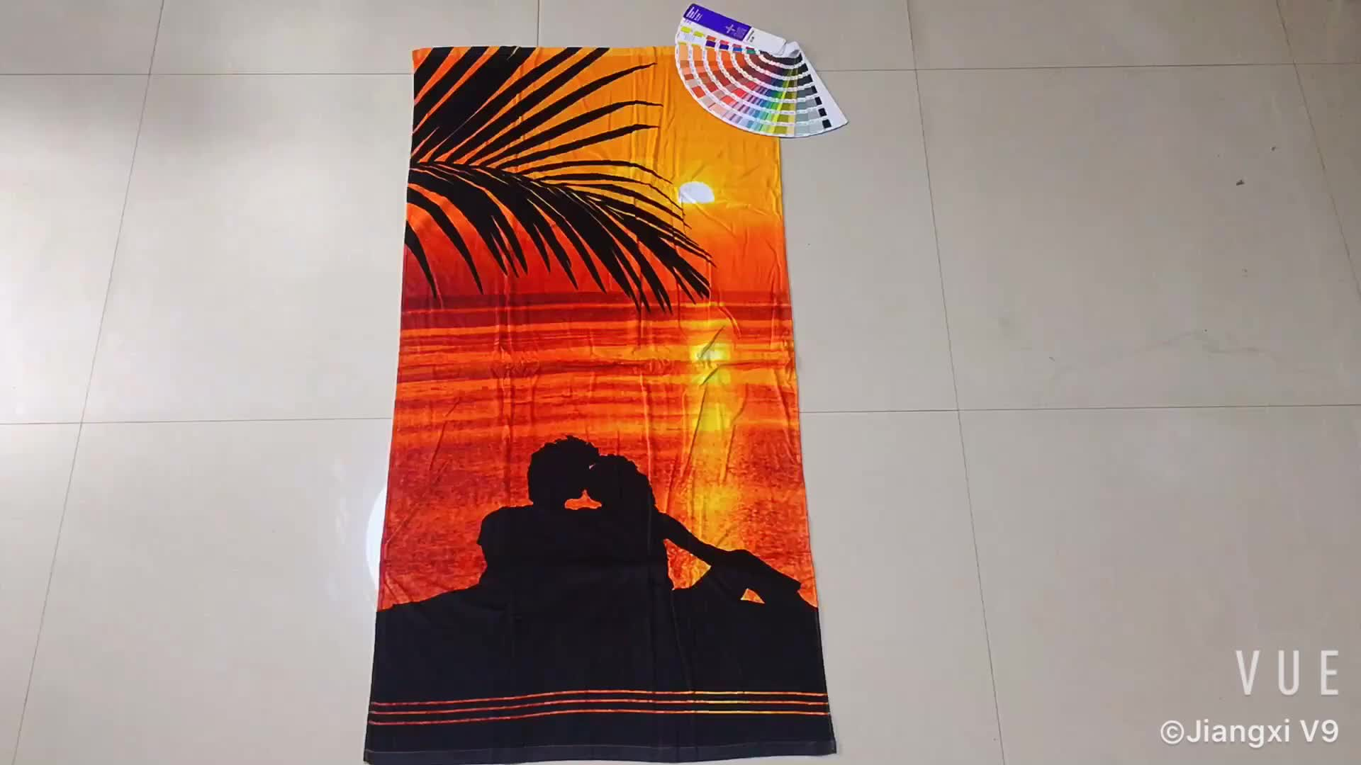 China supplier cotton velour printed custom promotion beach towel wholesale