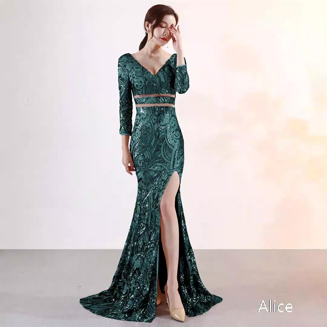 HOT sale high quality lady girl wedding party sexy new fashion Three Quarter sleeve evening dress