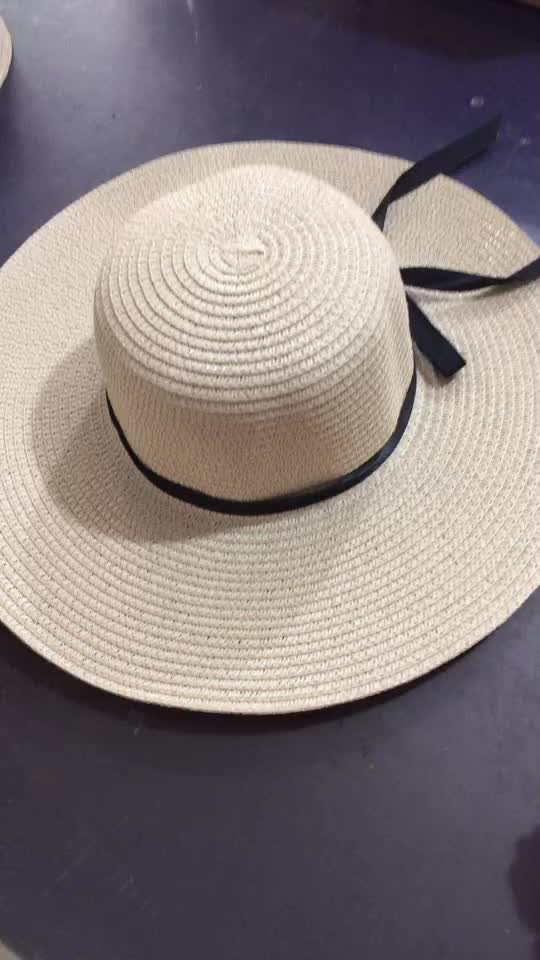 Wholesale Cheap Summer Wide Brim Foldable Sunshade Vacation Beach Straw Hats For Women Girls