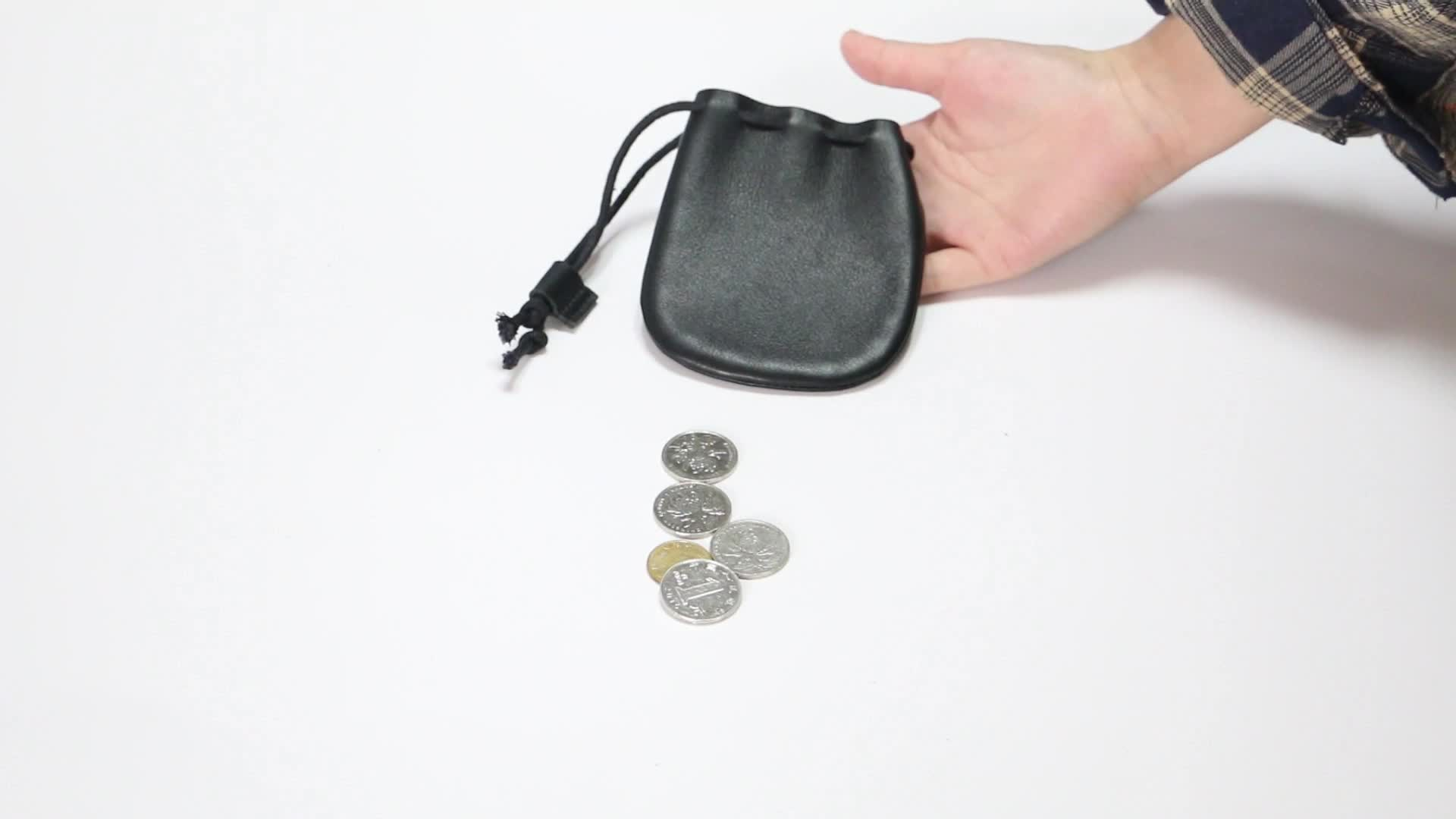 Fantastic Workmanship Mini Genuine Leather  Drawstring Pouch Coin Purse