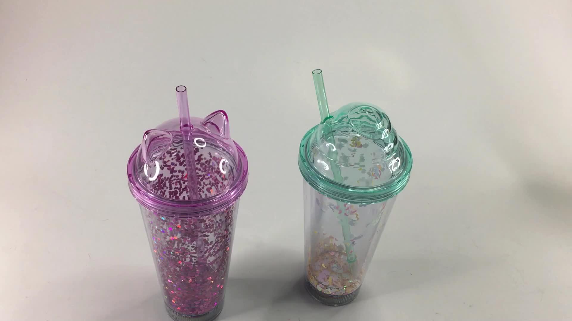 Partei Liefert LED Glas Doppel Deck Stroh Deckel Becher Tassen