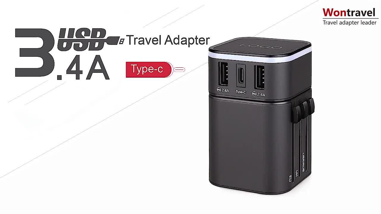 Yeni Tasarım OEM Logo Baskı Dünya Çapında Evrensel Seyahat adaptör fişi Şarj Cihazı USB Güç Adaptörü