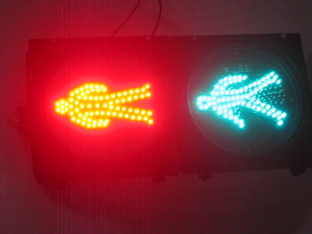Traffic LED flashing Red Stop Green Walk Man Road Safety Light