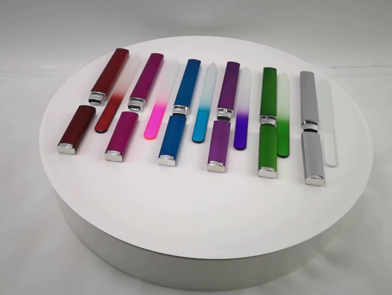 Professional reusable CUSTOM แฟ้มแก้วคริสตัลเล็บขายส่งที่มีสีสันทนทาน FLOAT กระจกนิรภัยเล็บโลโก้
