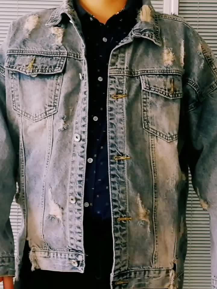 Custom Lange Mouwen Grote Maat Eenvoudige Pure Kleur Casual Retro mannen Denim Jas outdoor jas