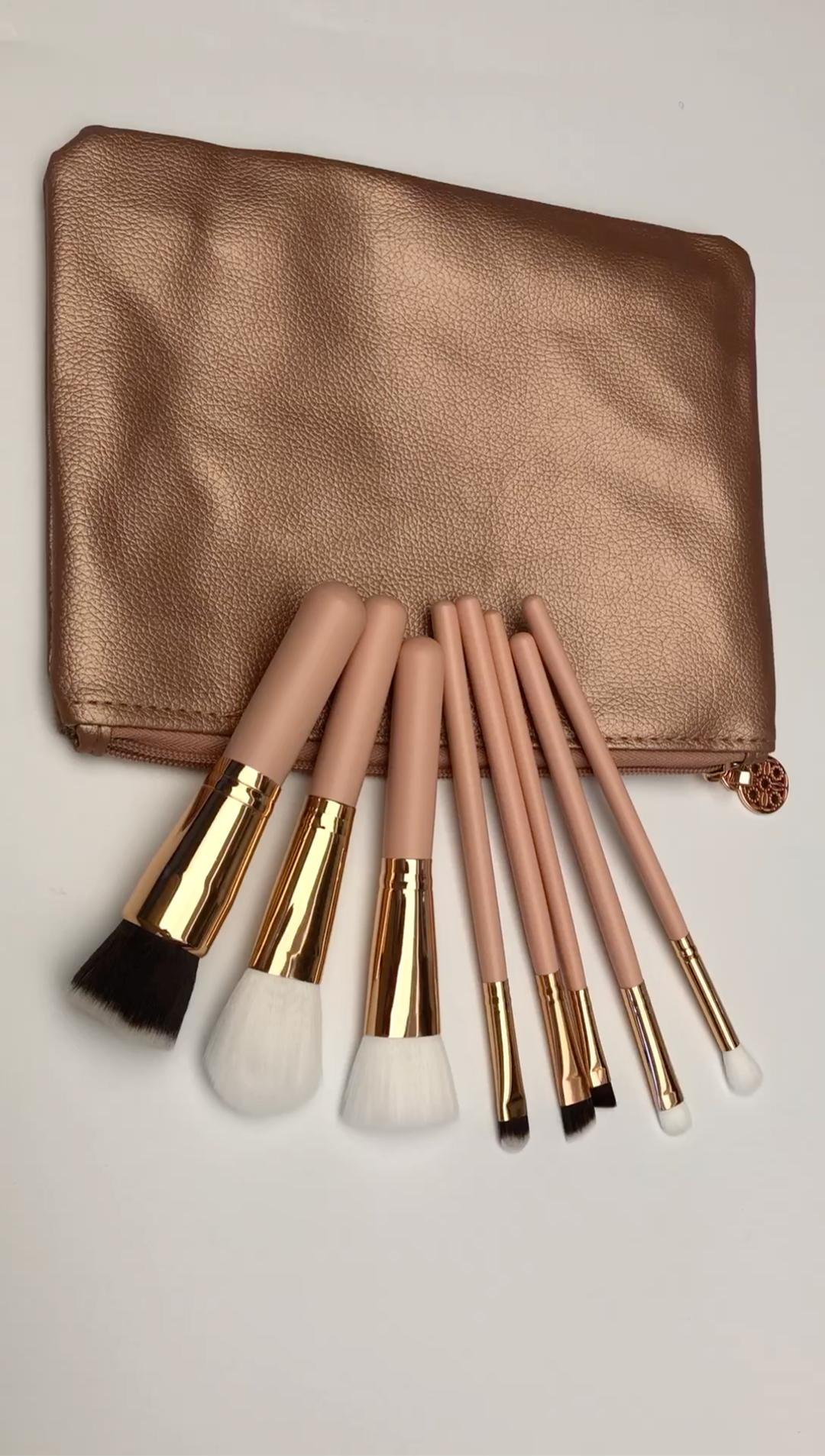 Professional 8pcs Faux Crystal Zircon Fiber Hair Makeup: 8pcs Professional Makeup Brush Set Kabuki Cosmetic