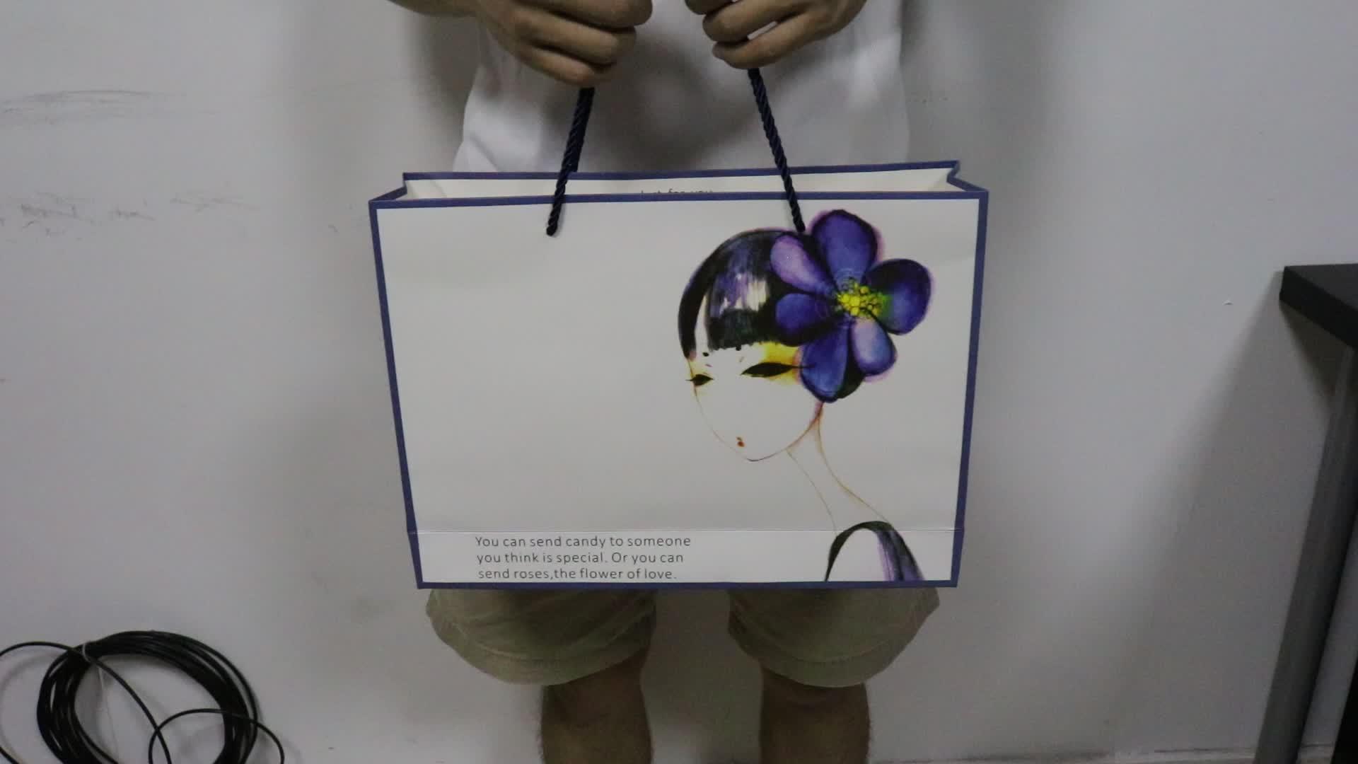 Sacos de compras personalizado saco de papel de presente com seu próprio logotipo