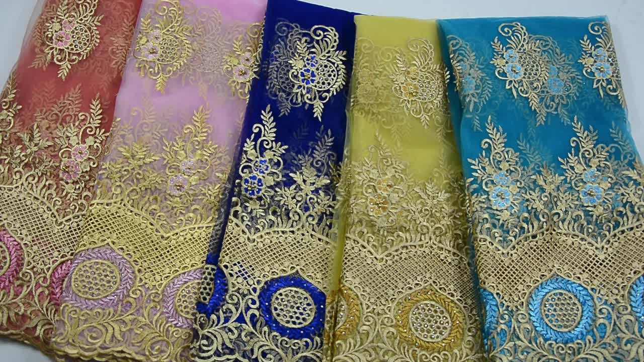 Big sale price 2019 gold african lace embroidery fabrics beaded lace fabric with rhinestones