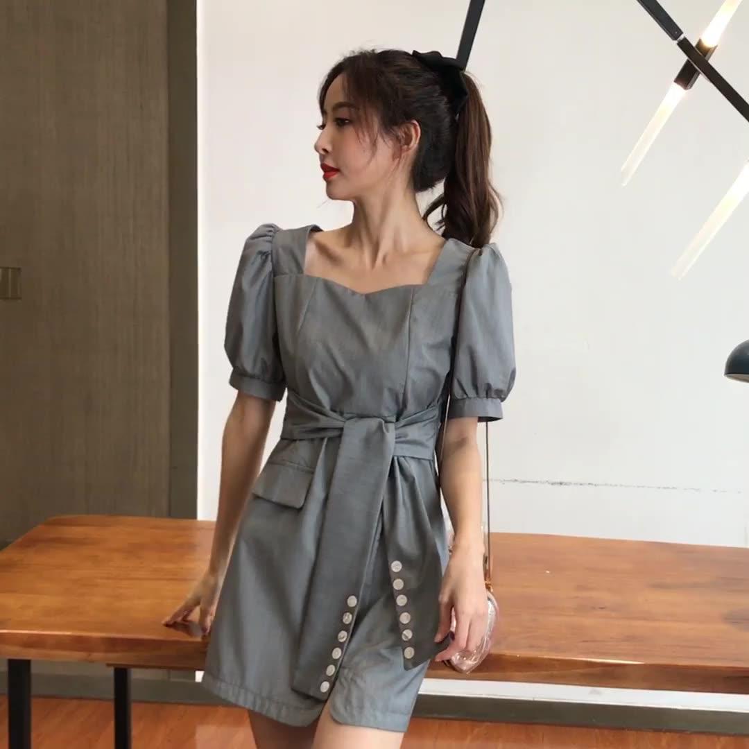 西装裙女2020夏季新款法式复古方领系带设计感小心机气质连衣裙子