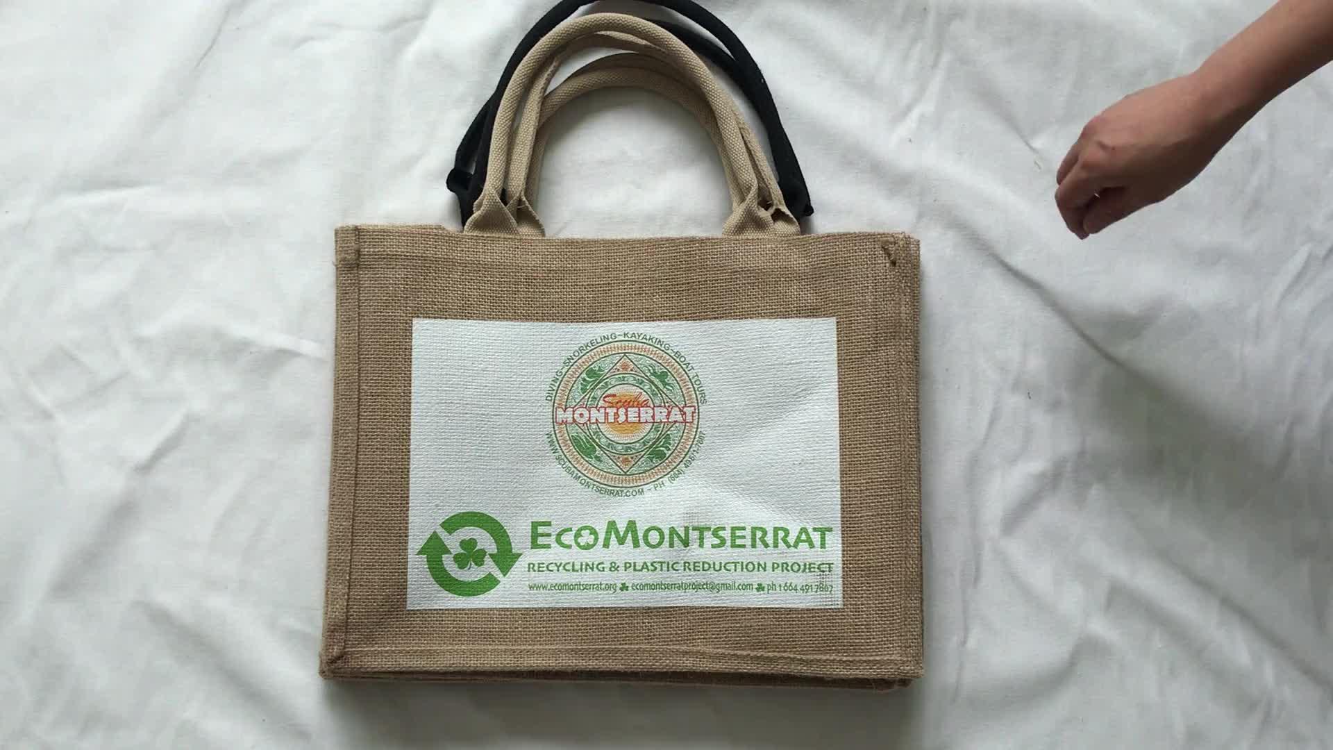 Eco-friendly Jute Tote bag Wholesale Cheap Customized Printing shopping bag