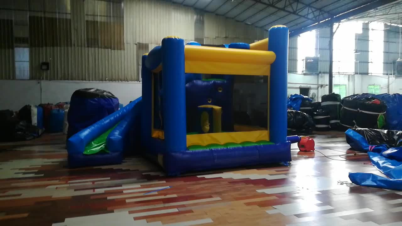 Hot sale!!! Small blue and yellow inflatable bouncer with slide for kids