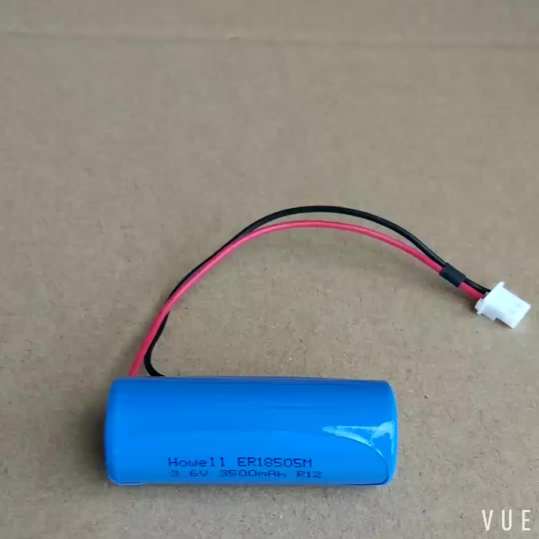 Li-SOCl2 Battery high power Spirally type with wire 3.6V ER18505M battery for Water Meter/Gas Meter
