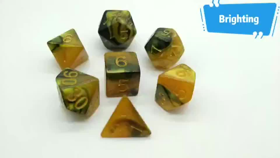 Gold Yellow & Black Swirl Polyhedral Acrylic In Stock RPG DND 7pcs Per Set Board Game Dice
