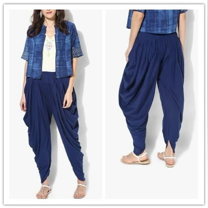 Lacivert Salwar Kameez dikiş için tasarımlar Dhoti şalvar elbise hsp2073