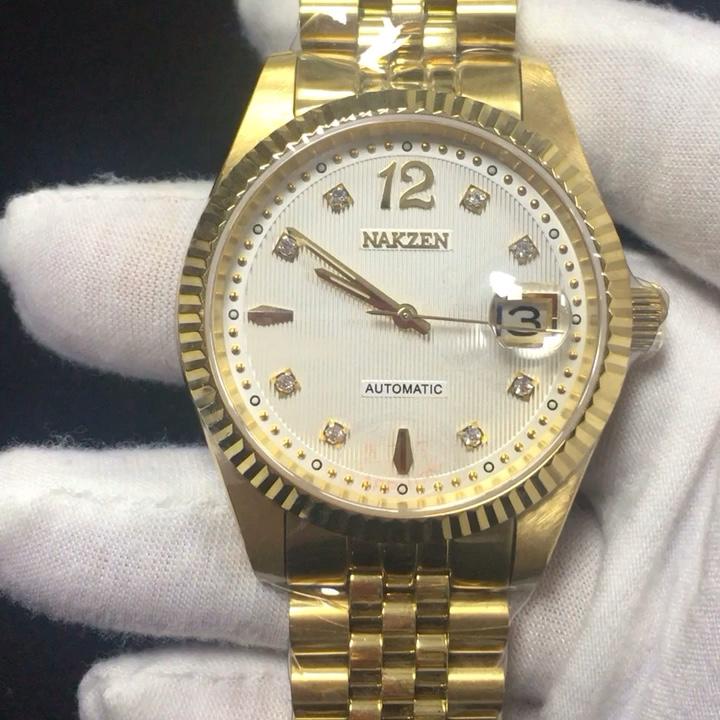 Yüksek kaliteli erkek kol saati lüks safir cam erkek bilek saatler relogio masculino düşük moq özel logo mekanik saat
