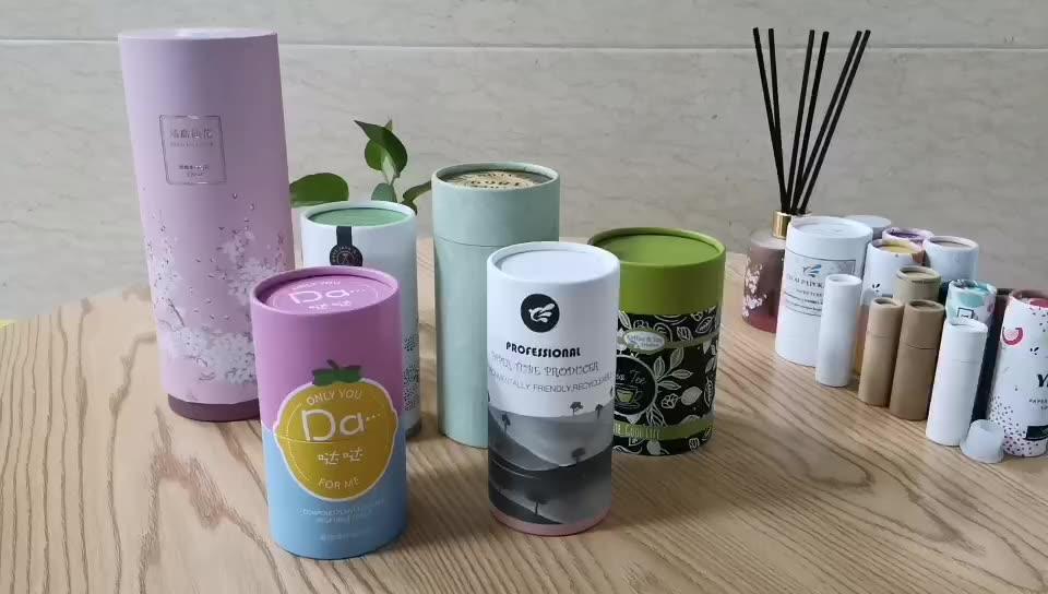 Fancy printing biodegradable cardboard paper tube food grade cylinder packaging for capsule