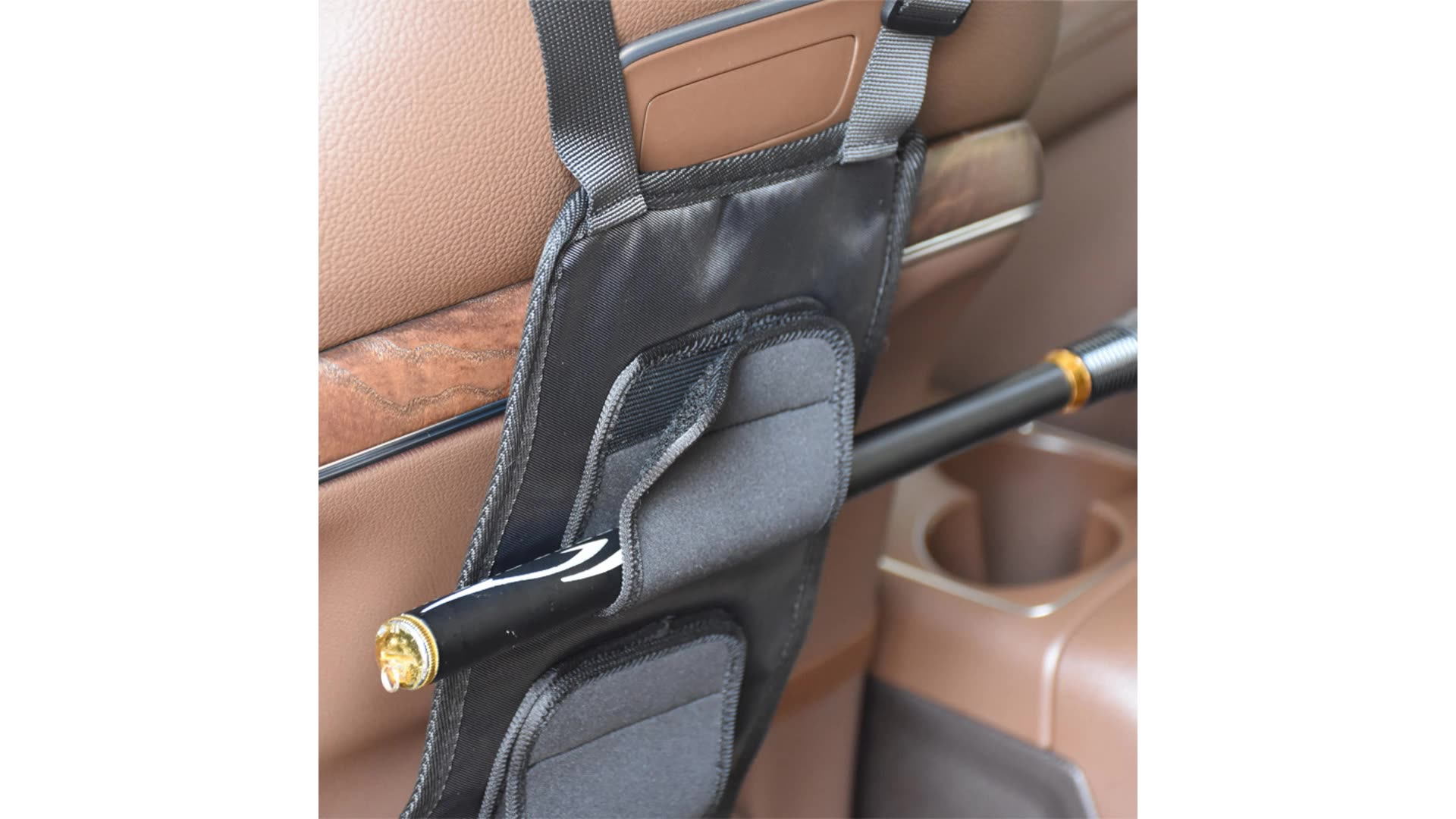 MultiFunction Back Seat Car Vehicle Fishing Rod Holder Bag 2pcs With Elastic Band And Adjustable Strap