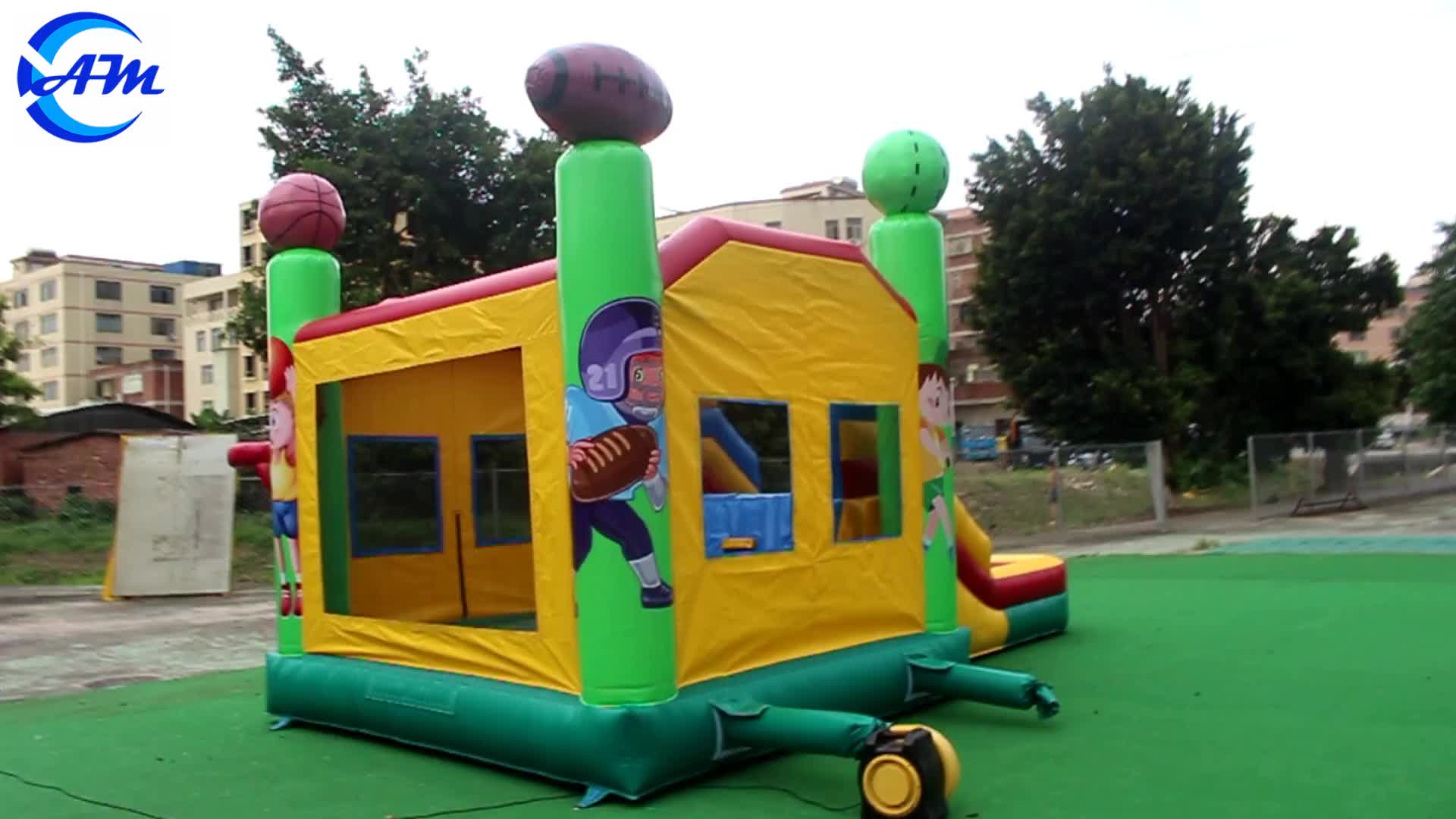 Commercial sport inflatable castle bouncy jumping bouncer house combo with pool