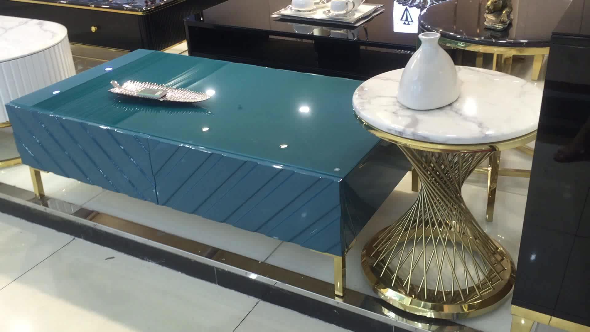 Mesa de centro moderna de color negro azul blanco para sala de estar mesa de centro de metal mesa de centro de sala de estar mesa de centro de diseño de café