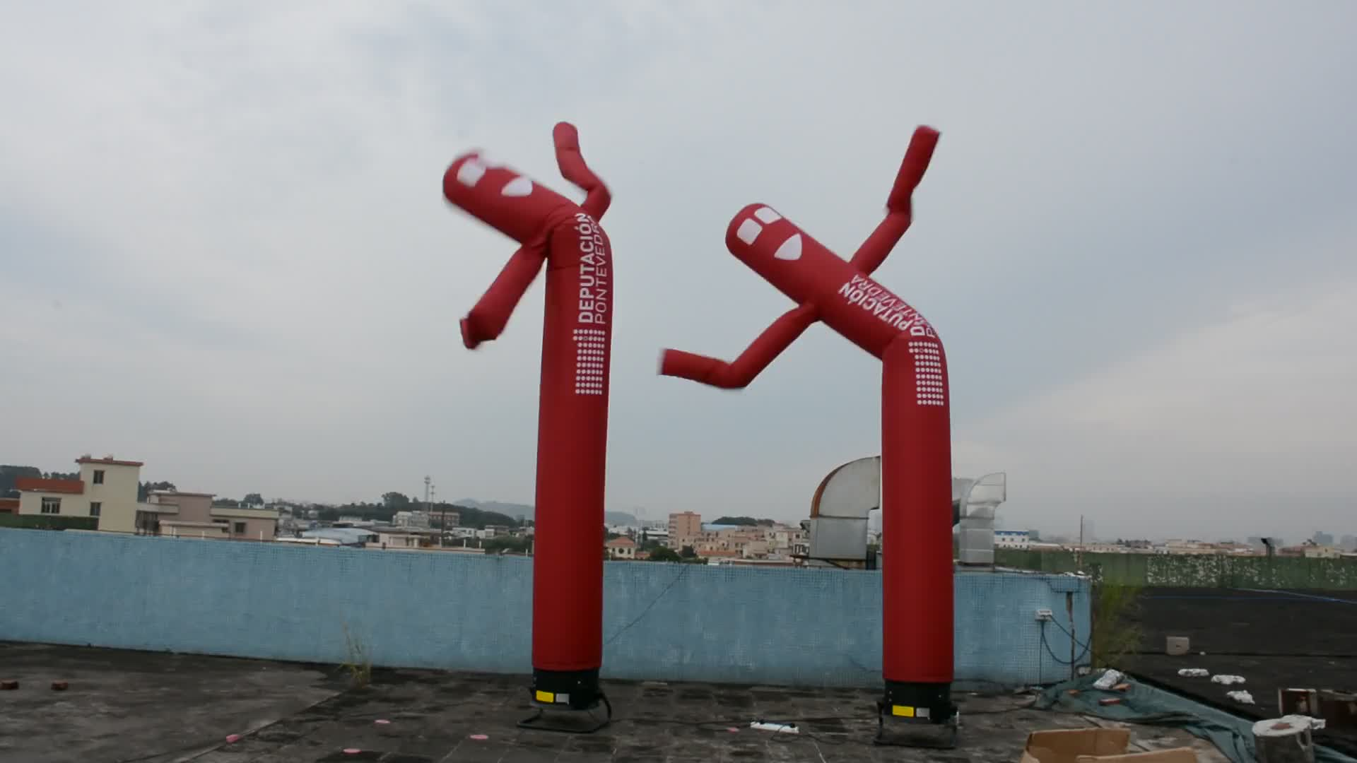 Clown Printing Advertising Sky Waving Inflatable Double Tube Dancer Man