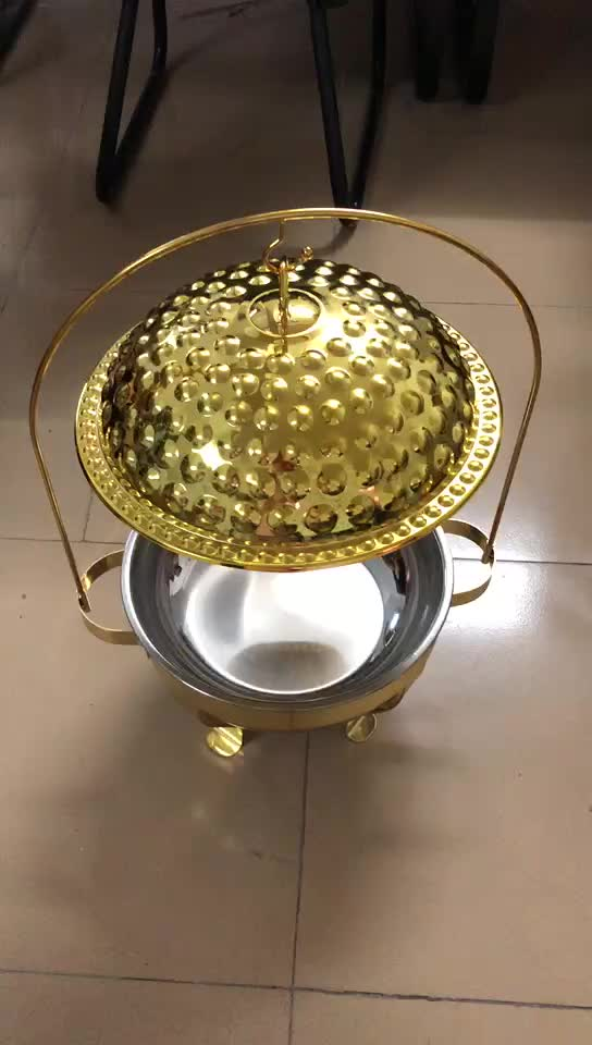 Arabic restaurant equipment deluxe golden table food warmer decorative fancy catering serving hanging hammered chafing dish