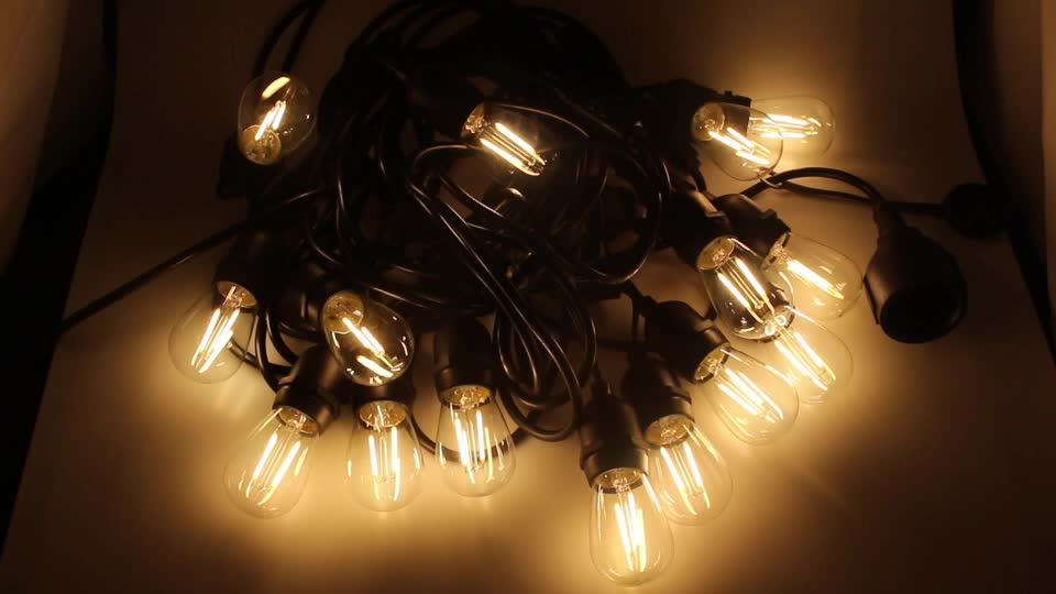 48ft Outdoor S14 Vintage Filament LED String Light with 15pcs Plus 3pcs Extra for home party decoration
