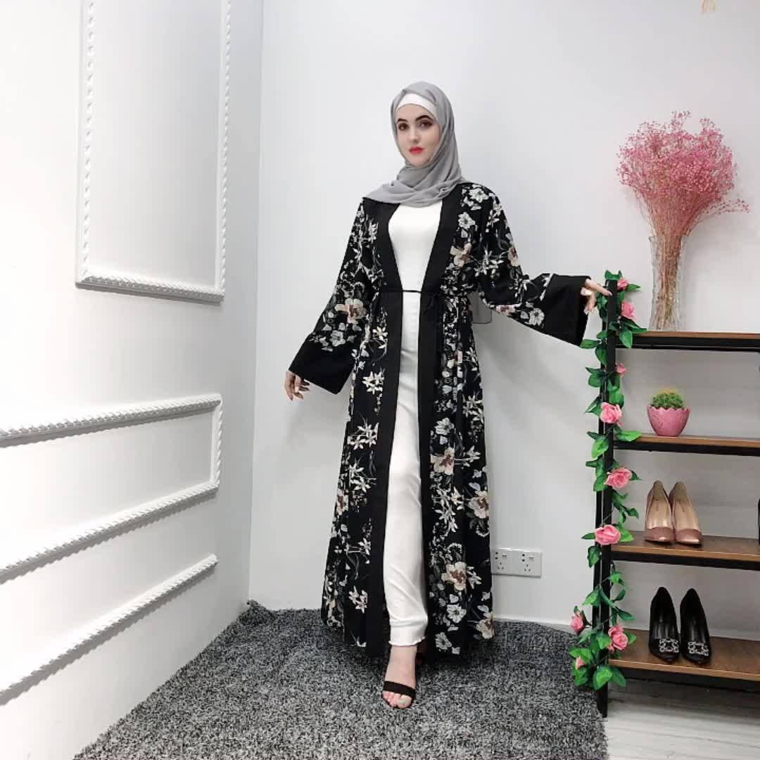 2019 fashion elegant floral soft crepewomen long sleeve  maxi dresses front open floral abaya for muslim women dubai