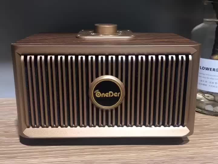 V5.0 + EDR Oneder V5 En Bois Haut-Parleur Sans Fil Portable Rétro Forme De Radio Bluetooth Haut-Parleur avec Boîte-Cadeau