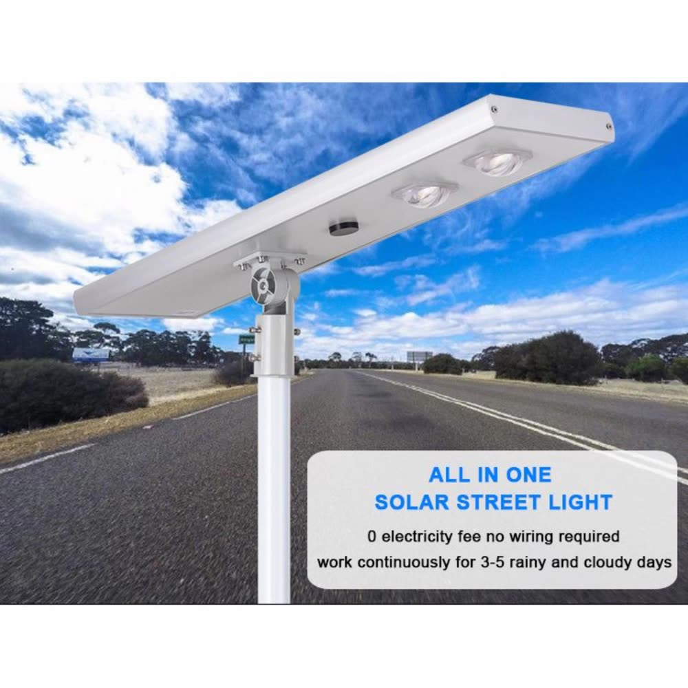 Aluminum housing adjustable motion sensor integrated all in one solar led street light 50w