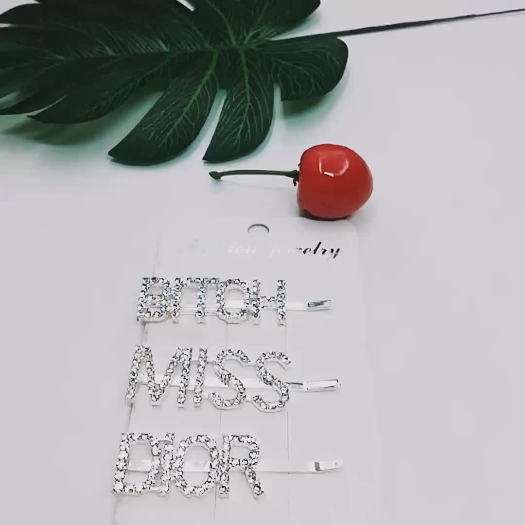 कोरियाई फैशन कस्टम क्रिस्टल hairpins शादी बाल सामान बॉबी पिन अनुकूलित बाल क्लिप शब्दों वर्णमाला पत्र बाल क्लिप
