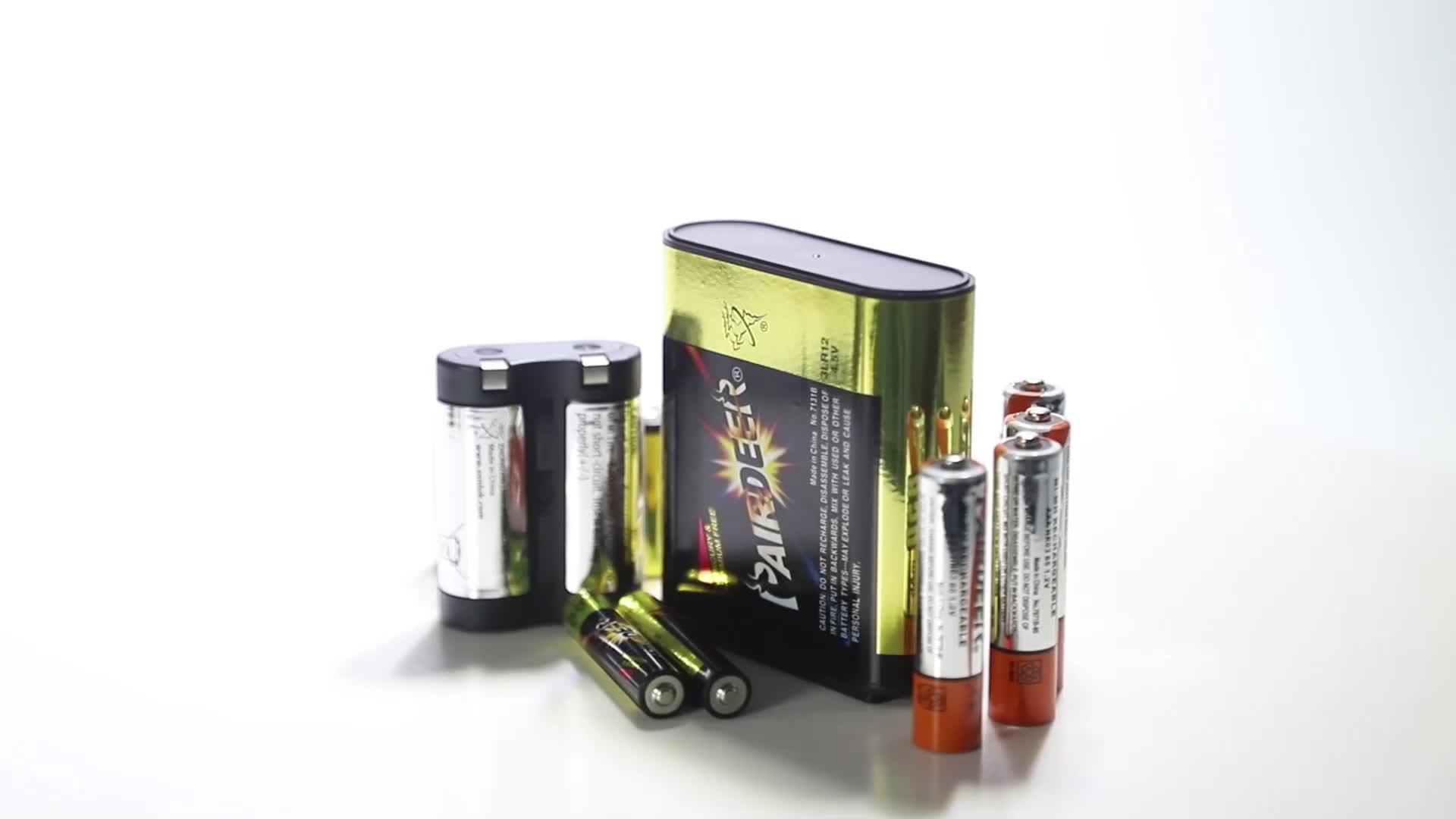 Ganzjahresleistung OEM Pairdeer 1.5v METAL PVC Hochleistungs-Zink-Mangan-R20-D-Batterie