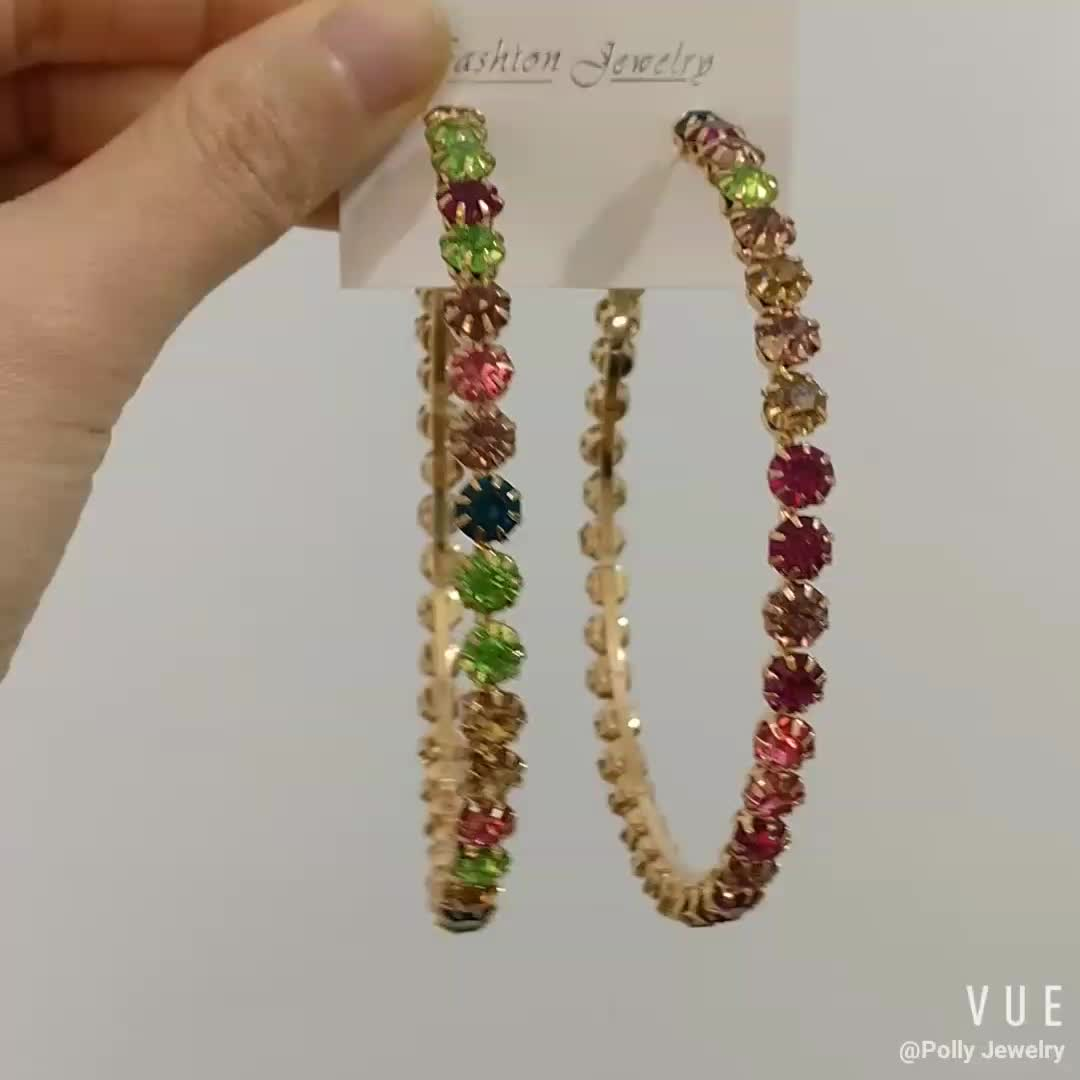 Hot Sale Big Large Gold Plated 8cm Colorful Crystal Diamond Mixed Color Hoop Earrings