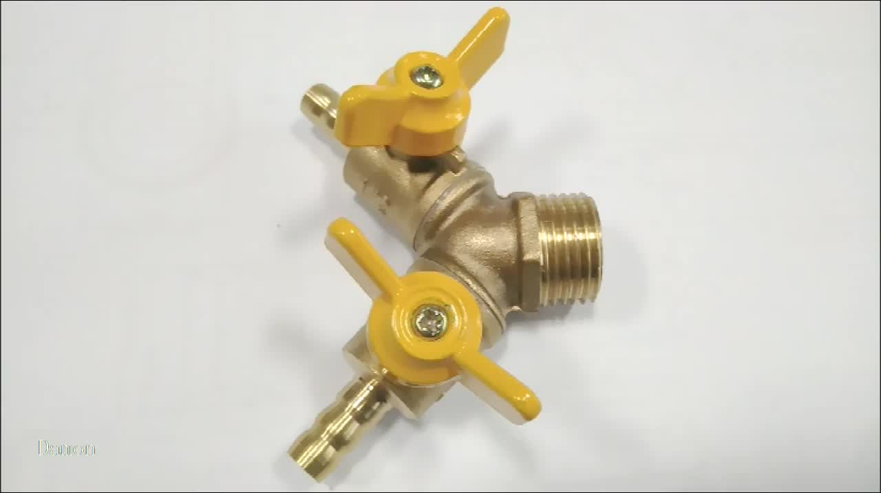 HC-1027 High Quality Yellow Handle Brass Bsp Male Thread Double Hose Barb Gas Ball Valve