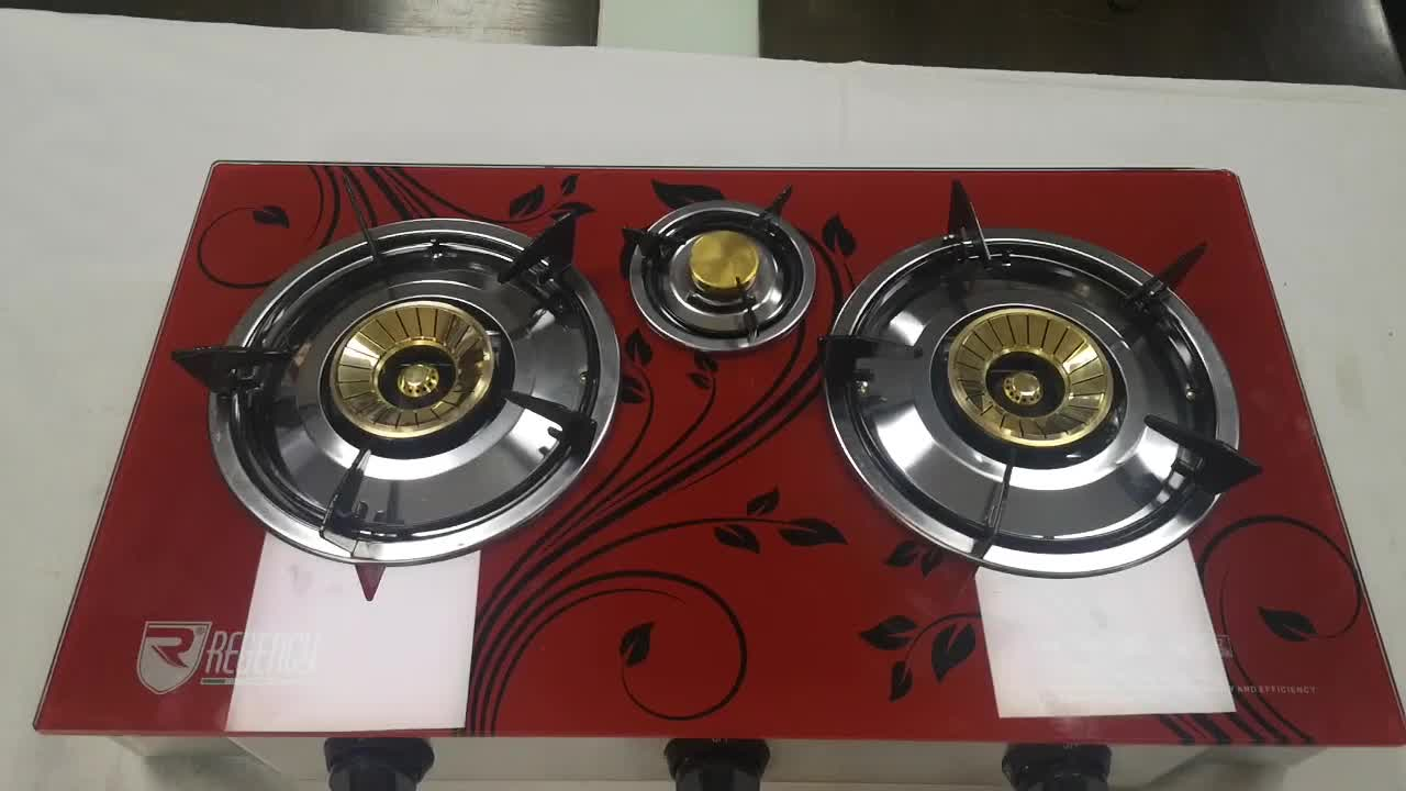 Chinese style red modern high quality hot sale best household cheap price 3 burner glass top gas stove