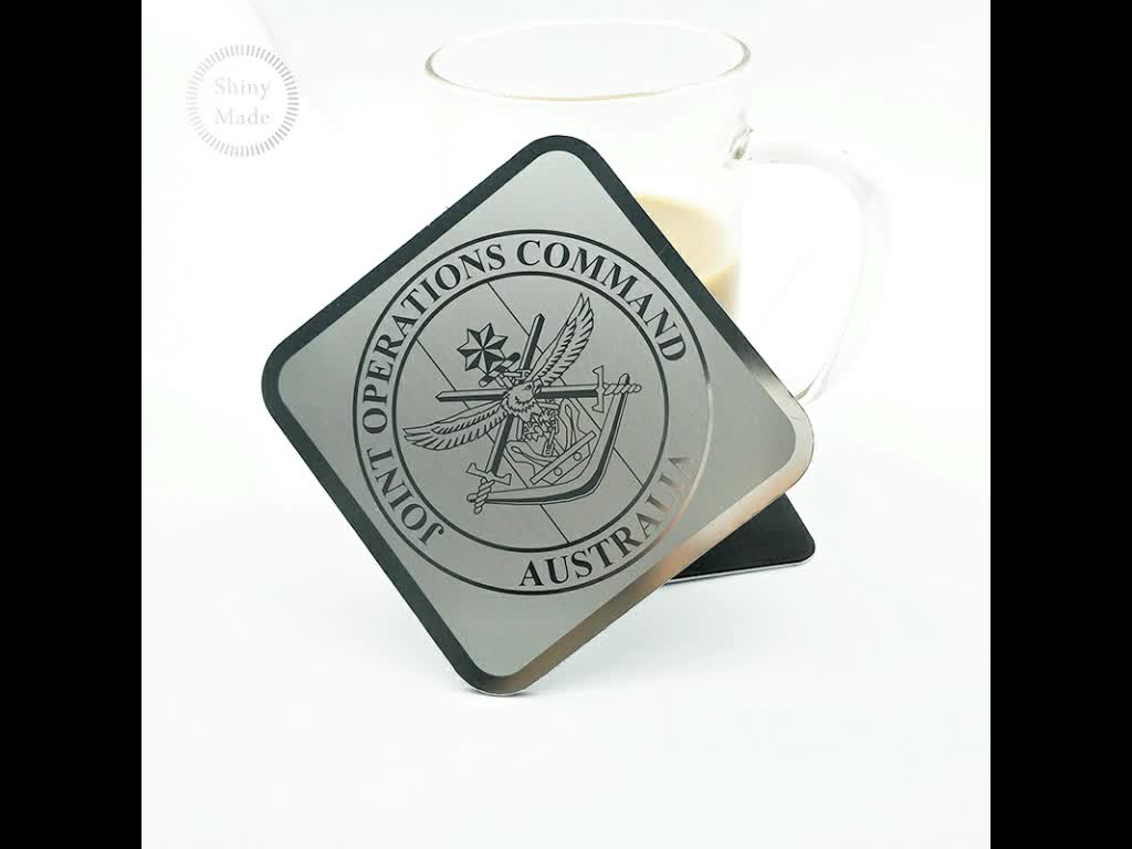 Wholesale  high quality free sample egraved  stainless steel custom metal coasters