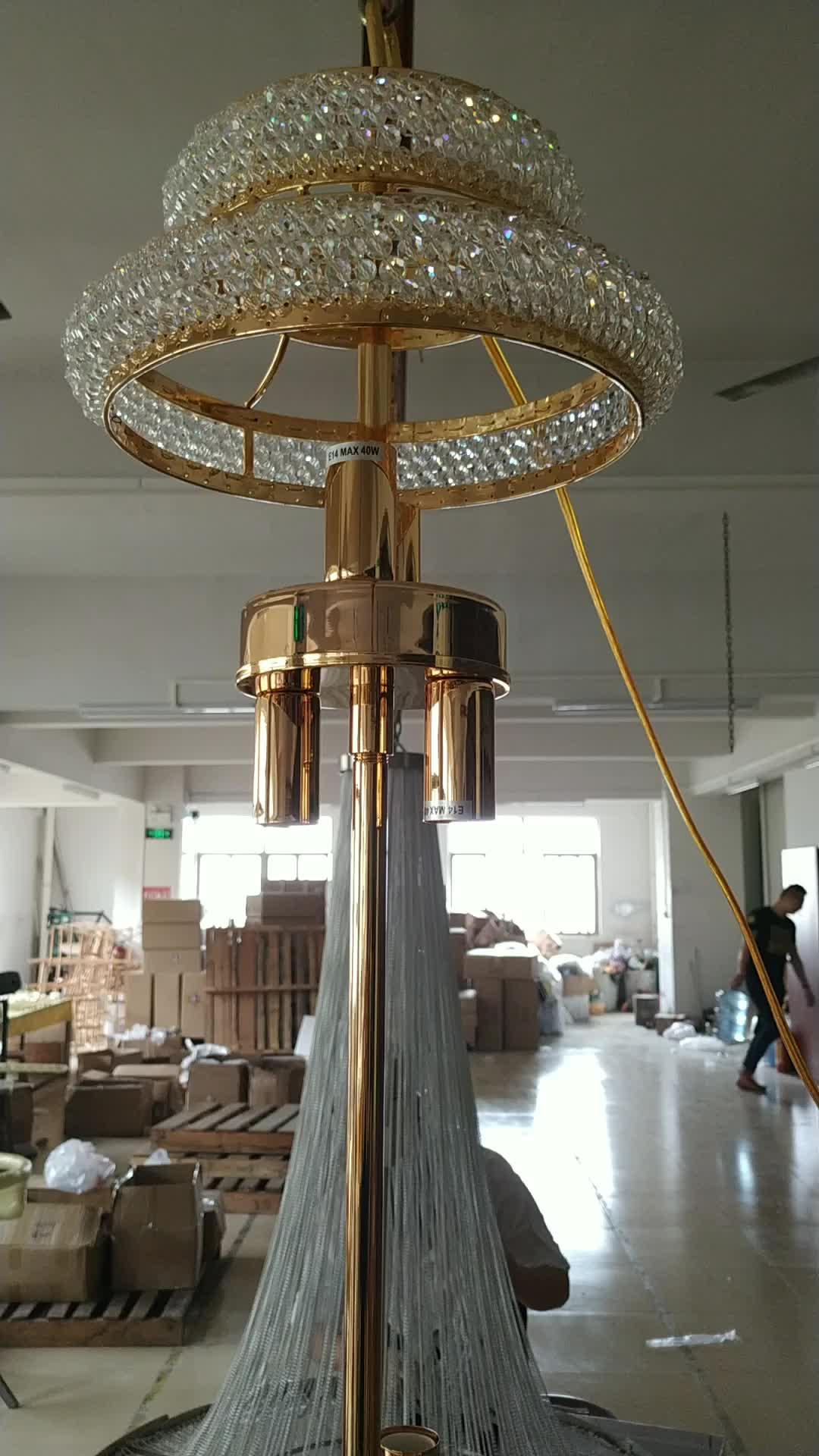 Lámpara colgante nórdica popular de 90cm de diámetro, cristales k9, iluminación de lujo, lámpara colgante dorada, lámparas colgantes, luces decorativas para uso en bodas