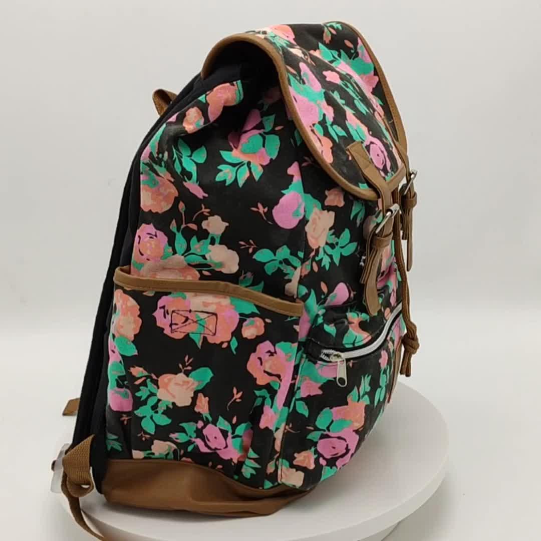ファッションデザインキャンバスガールスクール革リュックバッグ Usb 充電ポート女性旅行ビジネス防水リュックサック