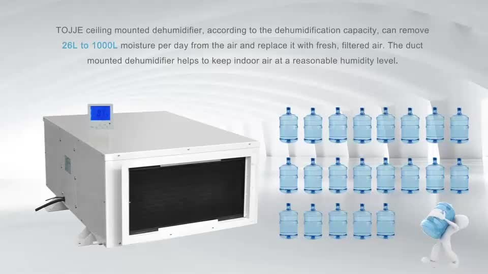 Ceiling Mounted Restoration Industrial Ducted Drain Portable Dehumidifier For Swimming Poor