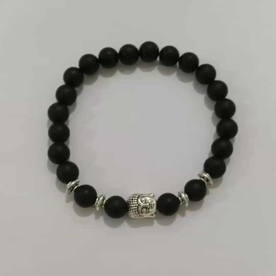 Fashion Men Bracelet 8MM Natural Stone Black Agate Matte Onyx Stretch Silver Alloy Buddha Beads Bracelets