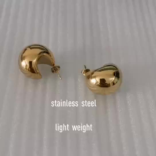 2021 Trendy Chunky Vintage Boho Design Light weight Large Wide Hollow Gold Plated Dome Chunky Hoop earrings Stainless steel