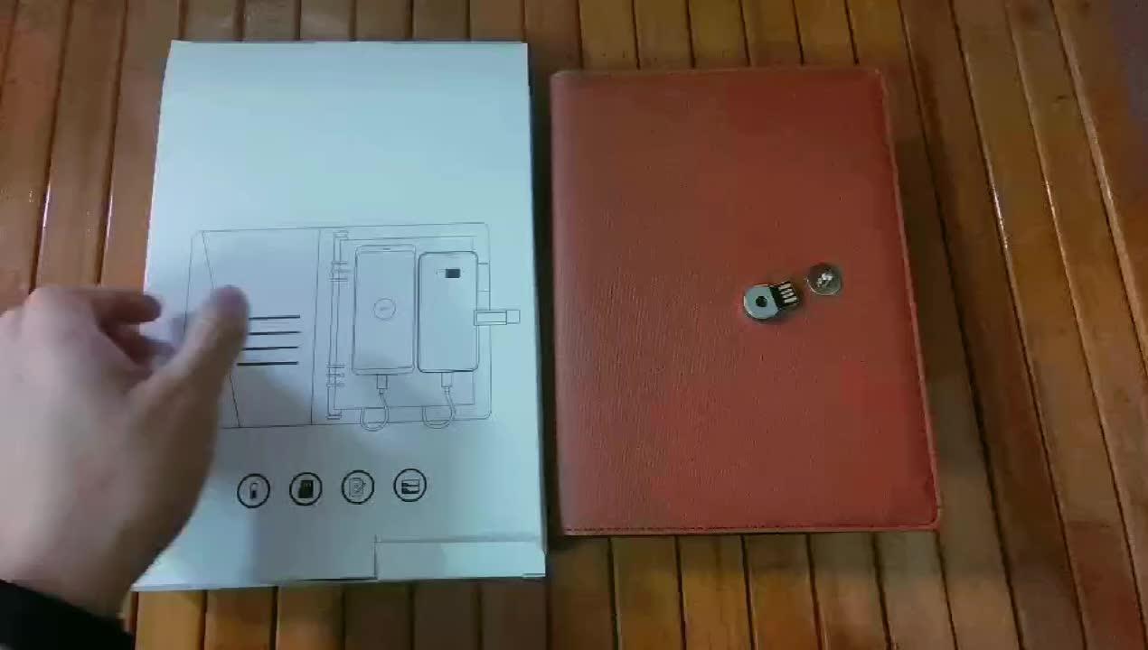 2019 A5 cuaderno fábrica cuaderno personalizado de carga banco de energía portátil con USB pendrive