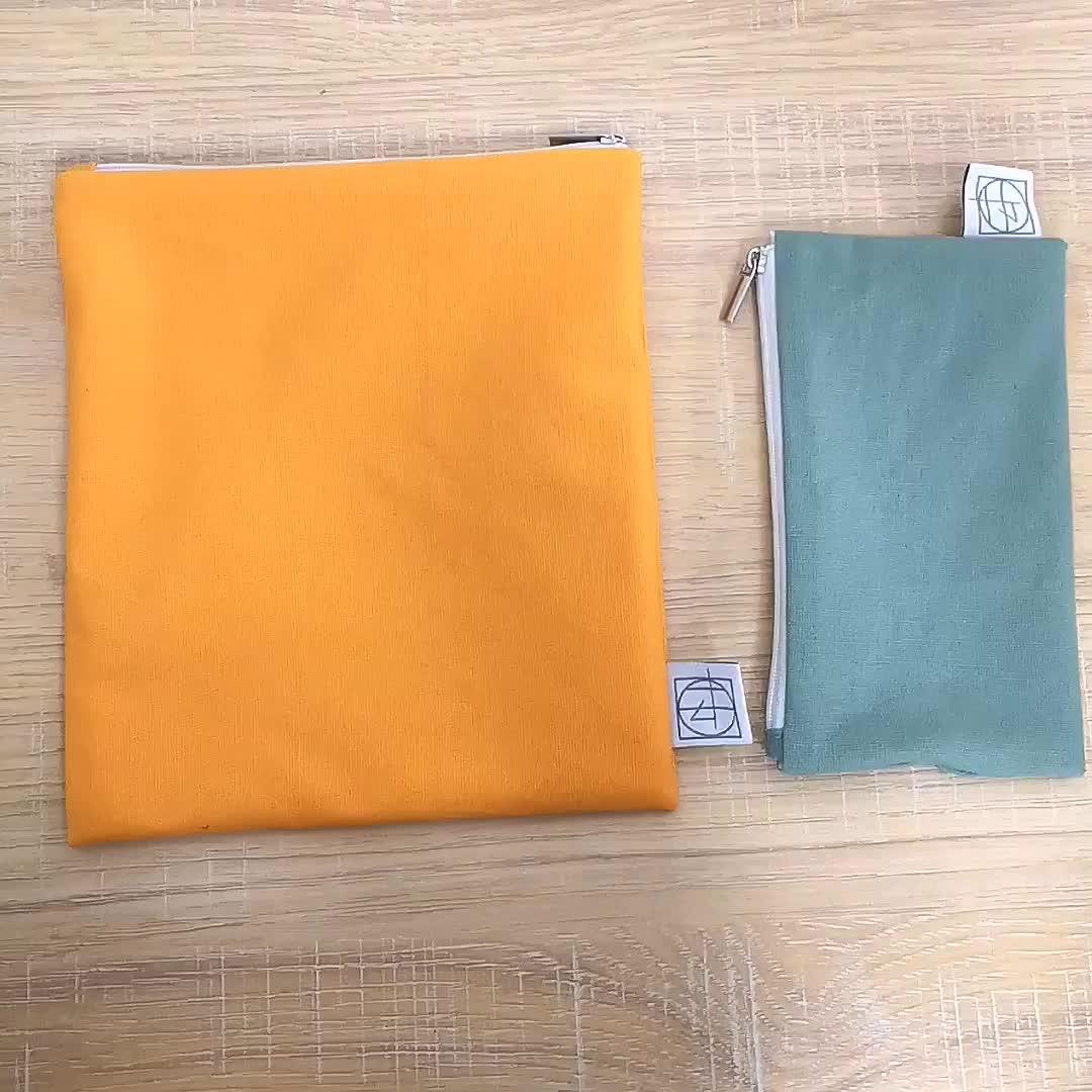 Eco Friendly Reusable Snack Set Bag Sandwich Bags Cotton With Zipper