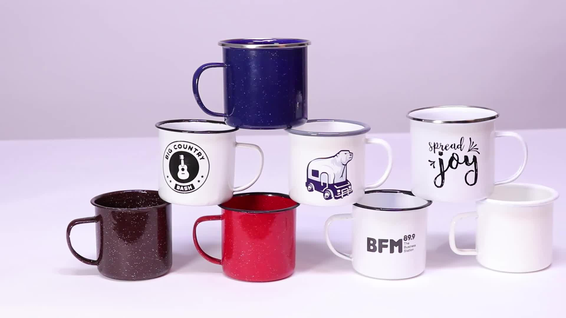 Oempromo customized logo blank enamel drinking camping cup