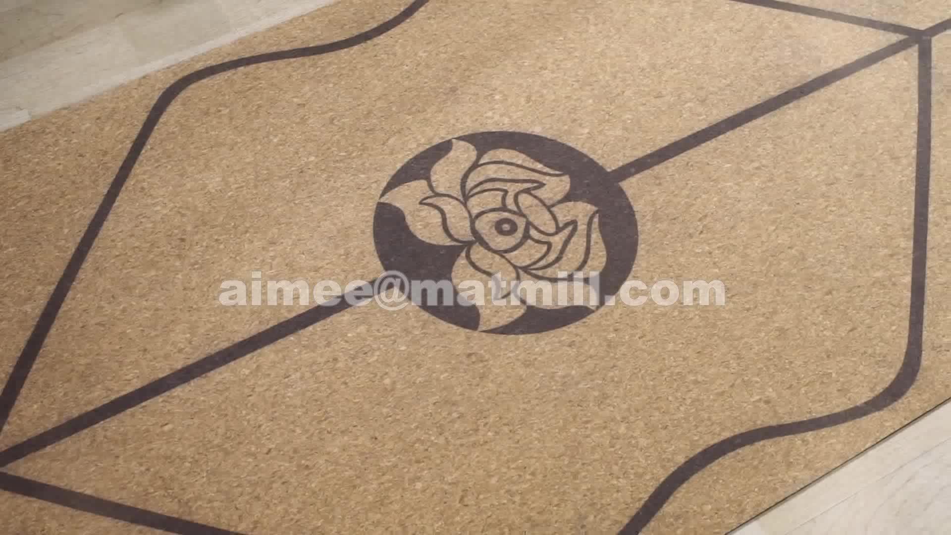 Full color sublimation printing natural tree rubber cork organic yoga mat