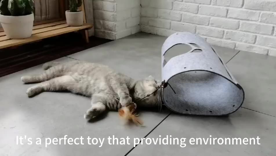 Cat Tunnel with Dangle Toys Two ways  cat cushion Extendable cat felt tunnel